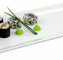 APS Paderno World Cuisine Rectangular White Melamine Sushi Tray, 20-7/8-Inch by 7-1/8-Inch