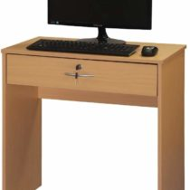 Absolute Deal Computer Desk with Key Lock Drawer for Home Office, Wood, Beech, W70 x D40 x H71.5 cm