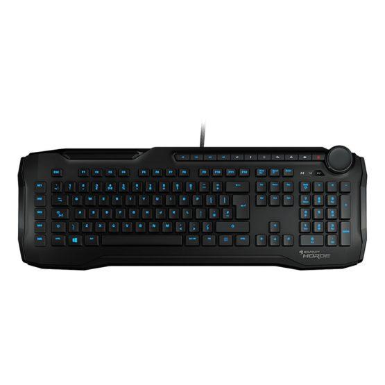 ROCCAT Horde Membranical Gaming Keyboard, Blue LED Illumination, Improved Island Key Layout, Quick-Fire Macro Keys, Configurable Tuning Wheel, USB, Black