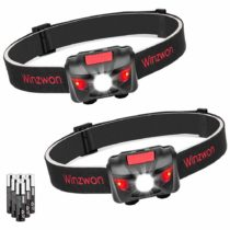 [2 Pack] Winzwon LED Head Torch, Super Bright Led Headlamps, Head Lights with 4 Brightness Modes, Lightweight Headlight for Running Camping Fishing Hiking Reading, 6 AAA Batteries Included