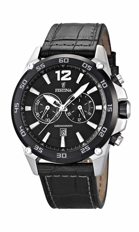 Festina Men's Quartz Watch with Black Dial Chronograph Display and Black Leather Strap F16673/4
