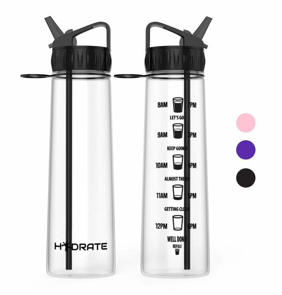 Hydrate Motivational Straw Water Bottle, 900ml – With Time Markings To Help You drink More Water, Tritan, Eco Friendly & BPA-Free, For Day to Day Use Ideal For Adults, Children & Kids – Fast Water Flow, Flip Straw, Reusable & Leak-proof