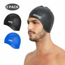 Aegend 2 Packs Waterproof Swim Cap for Adult Men Women Solid Silicone Swim Caps