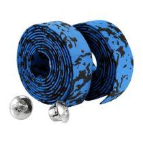 2 Pcs Bicycle Cycling Cork Handlebar Tape Bike Sponge Handle Strap with 2 Bar Plug ( Color : Blue+Black )