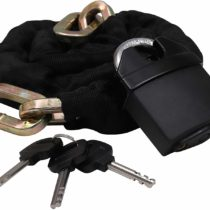 1.2m X 10mm Bike Lock with Padlock (7.5cm x 6cm x 2cm) – Heavy Duty Security Chain for Bicycle, Motorcycle, Bike with Protective Nylon Cover