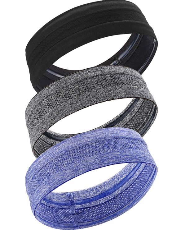 3 Pieces Headband Sweatband Elastic Sports Head Bands Non Slip Moisture Wicking Athletic Headwear for Men and Women
